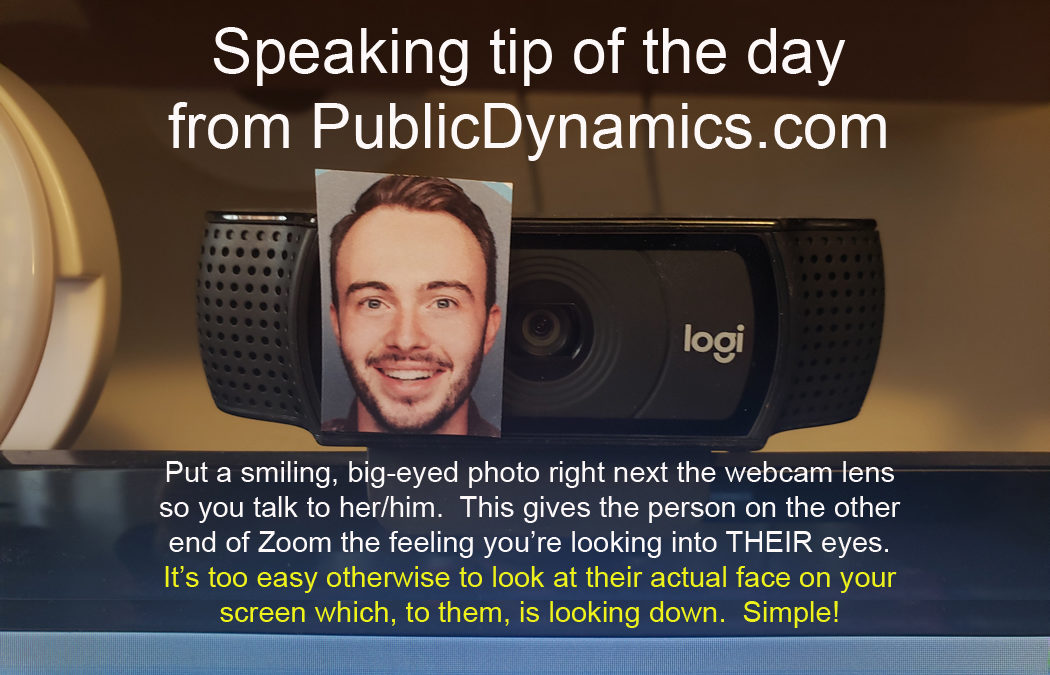 Speaking Tip of the Day: Photo by Webcam Lens