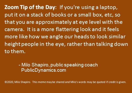 Zoom Tip of the Day #3:  Camera Height