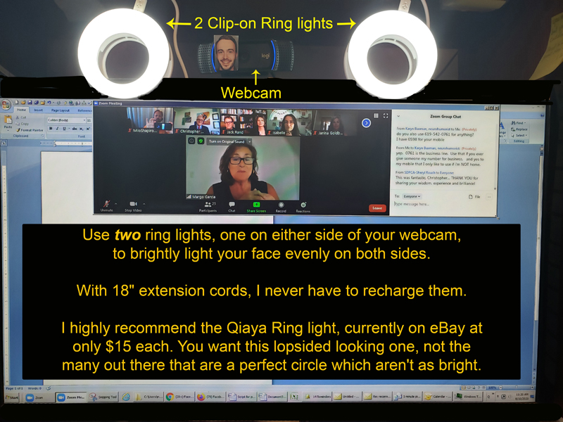 Using two ring lights for a great, inexpensive remote webcam solution