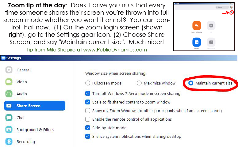 Zoom tip #6:  Avoiding full screen mode being forced on you
